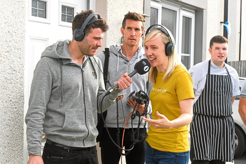 Sarah Walker with Radio 1's Jordan Young