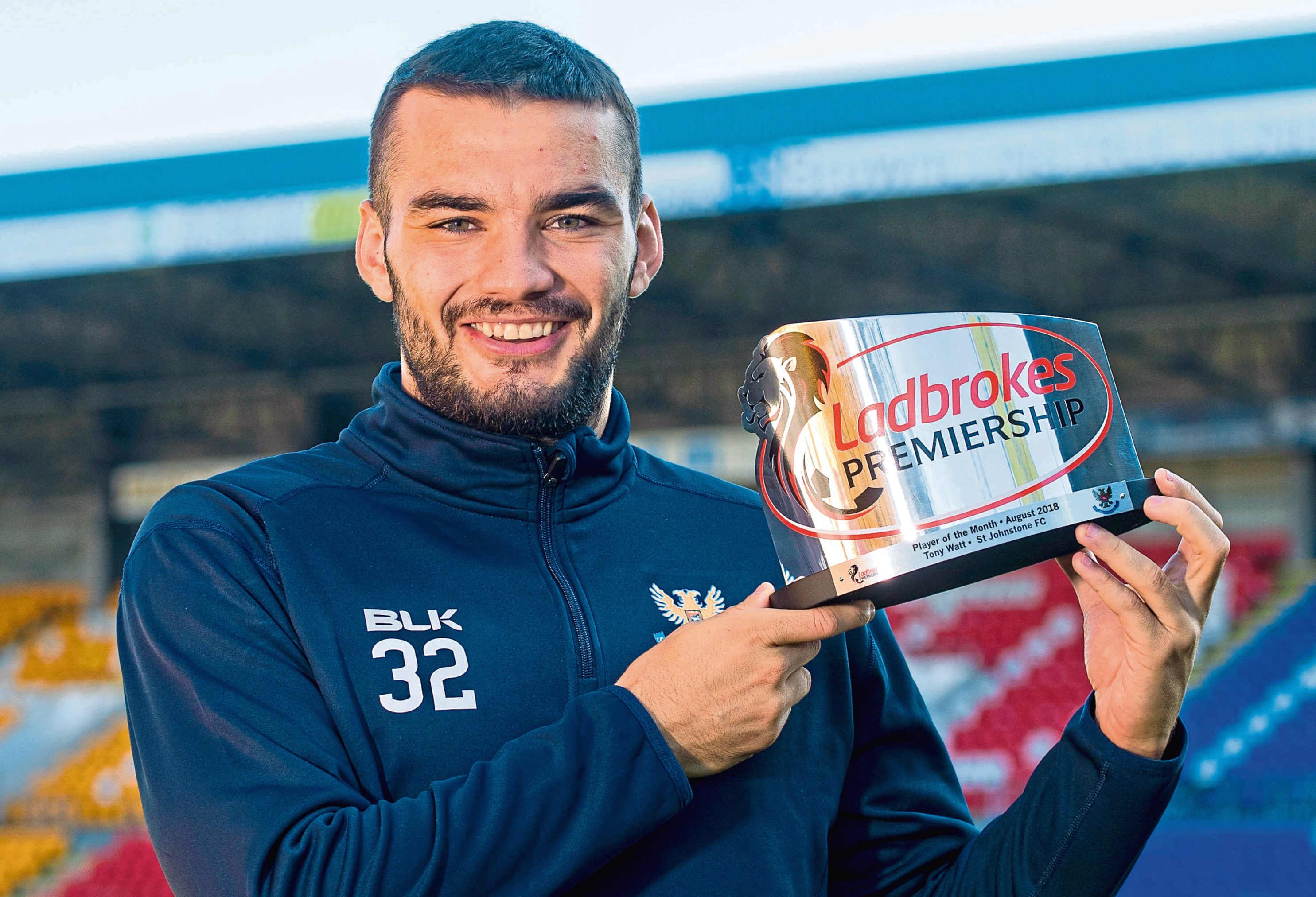 St Johnstone's Tony Watt receives the Ladbrokes Player of the Month Award for August.