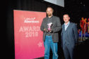 Alastair Meek with his award at Celebrate Aberdeen.