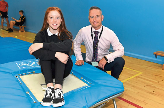 Kirsty Muir  with head teacher Mike Paul