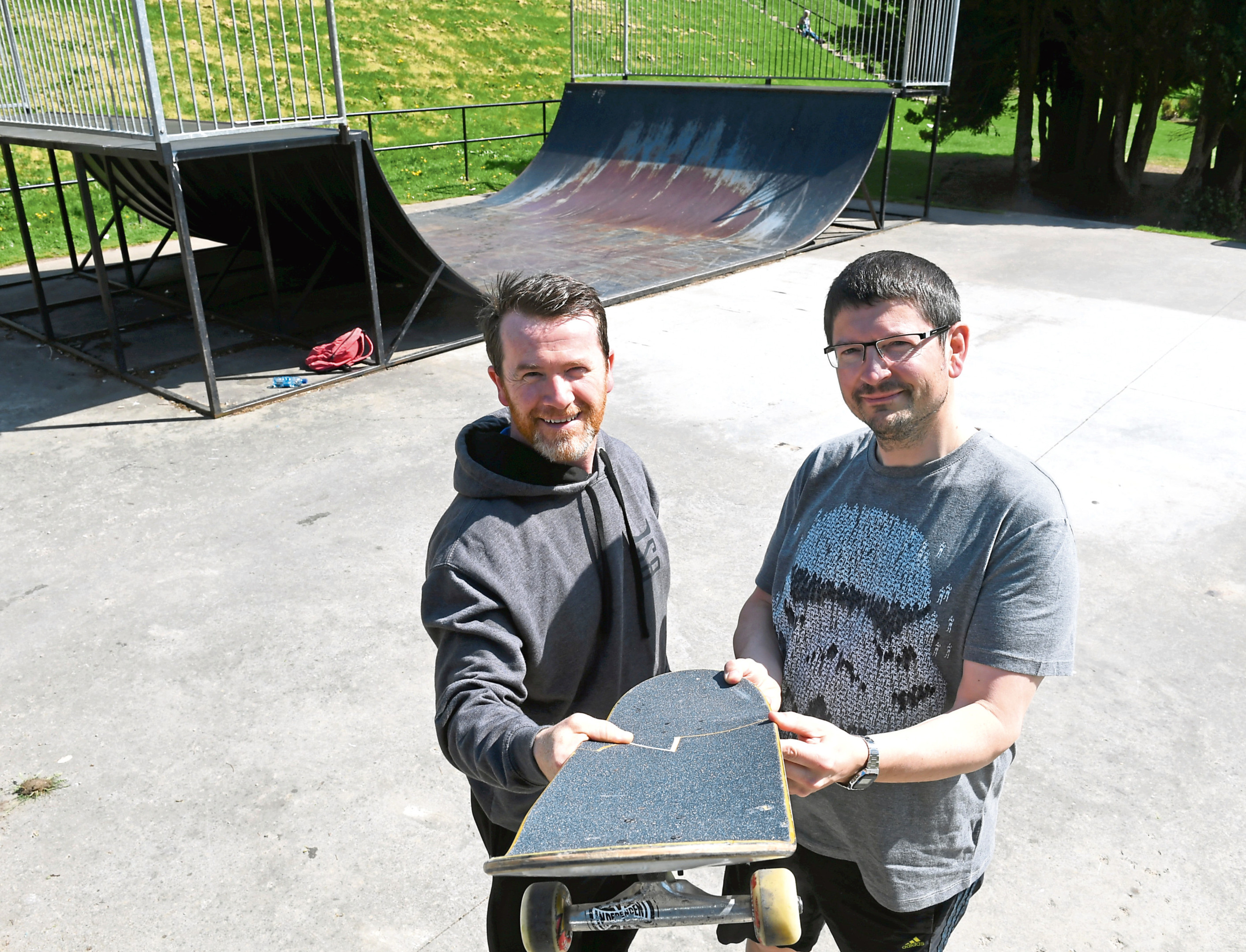 Russ Crichton, chairman of the Banchory Skatepark and Bruce Skinner a committee member