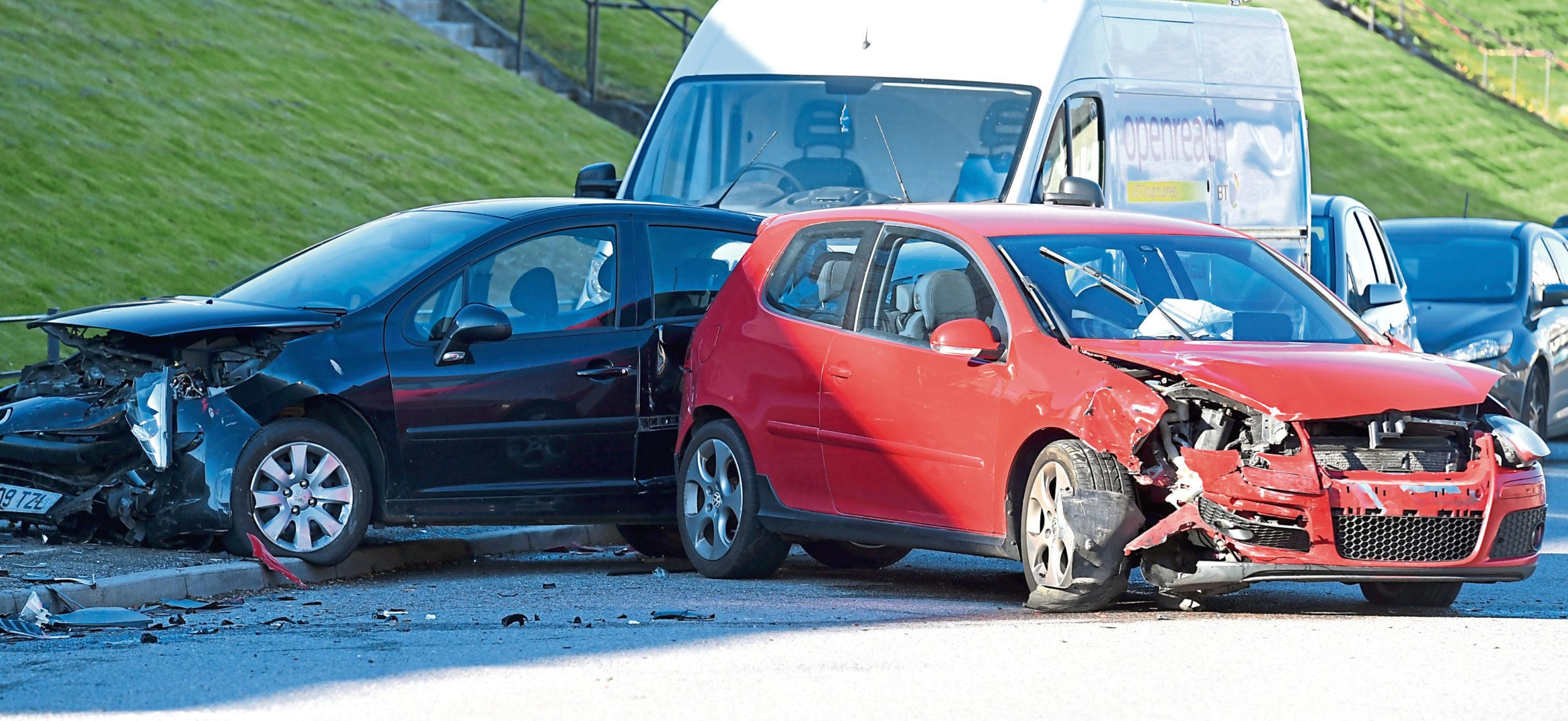 The scene of the crash on Glenbervie Road, Torry