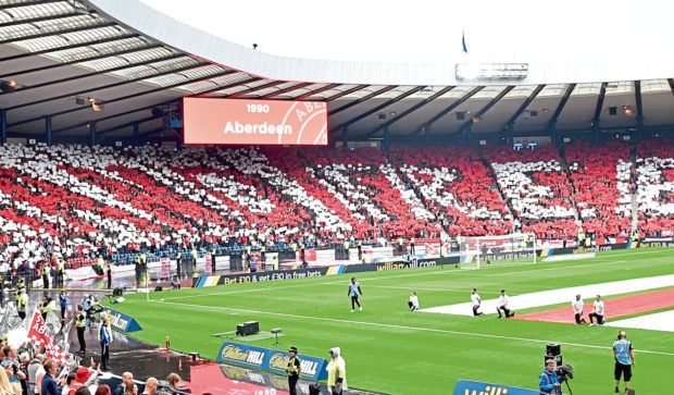 Aberdeen fans at Hampden  for the 2017 Scottish Cup final.