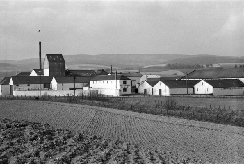 1974: An exterior view is captured of the Fettercairn Distillery