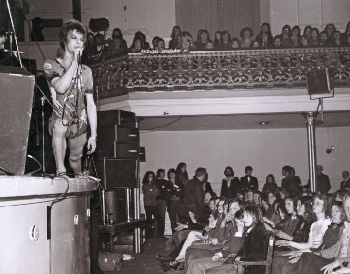 1973: David Bowie in Ziggy Stardust guise tries to win over a rather sceptical Aberdeen audience at the Music Hall