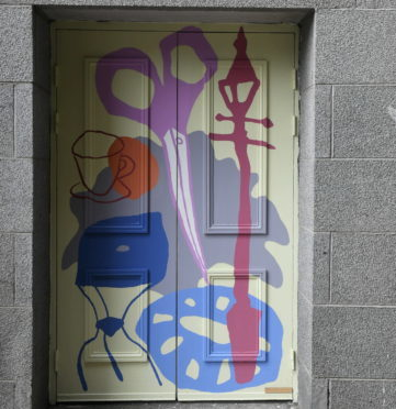 David Iain Brown's painted door on the East Green