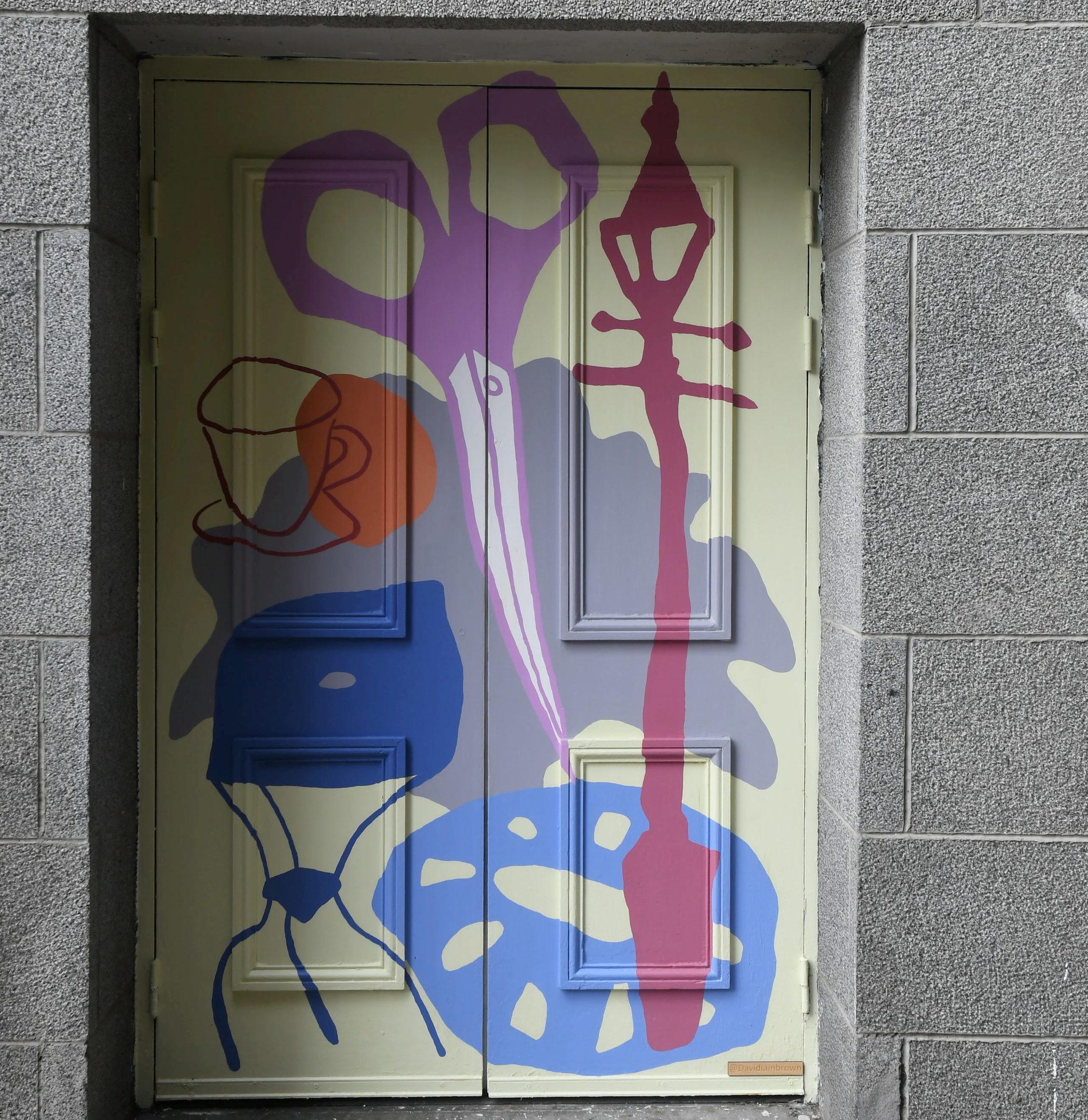 David Iain Brown's painted door on the East Green