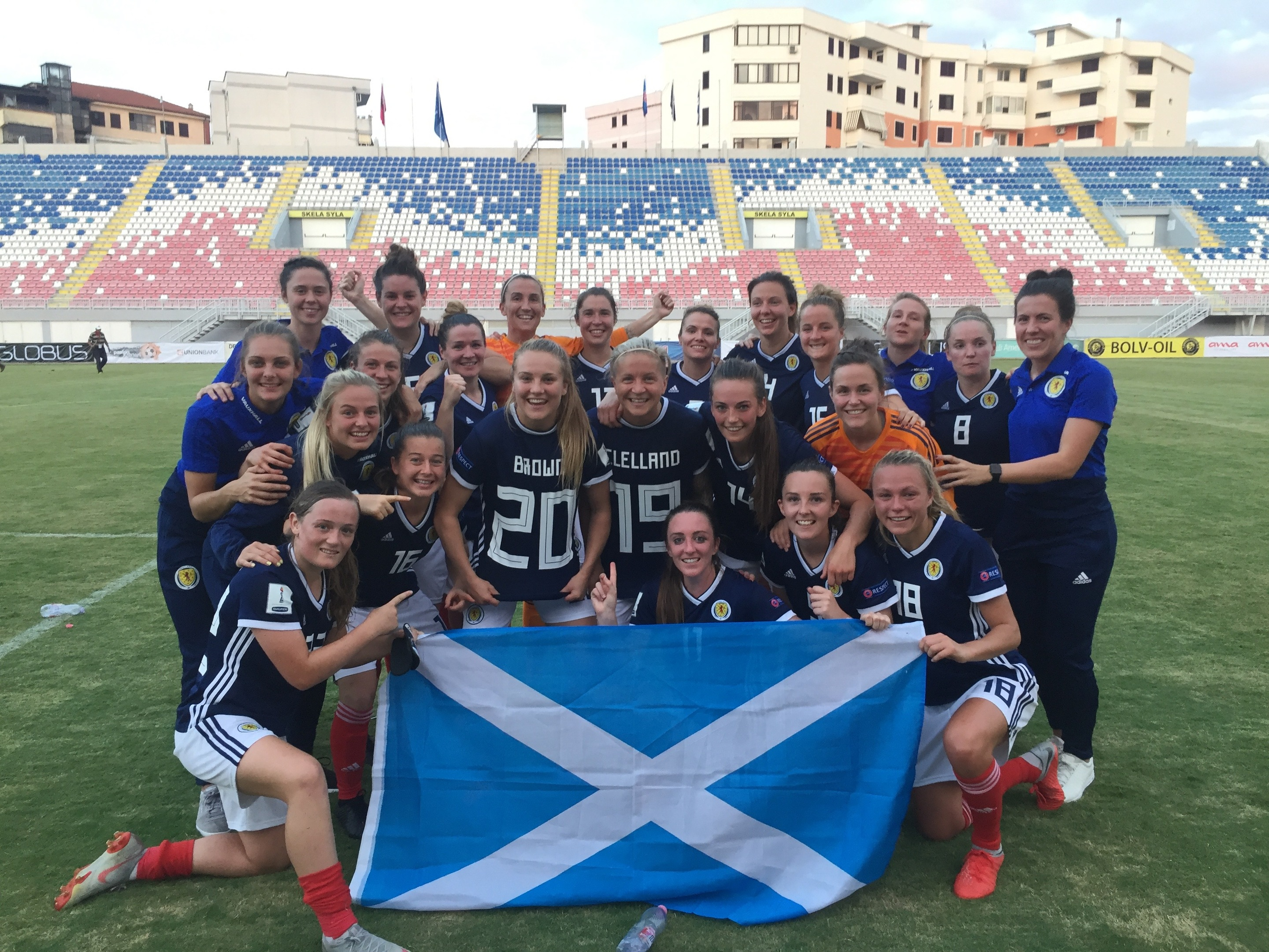 Scotland celebrate reaching France.
