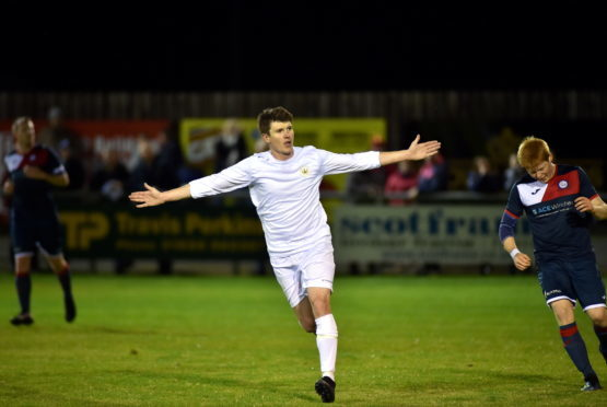 Banks of Dee number 10 Luke Barbour making it 4-0. Picture by Scott Baxter