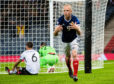 Scotland's Steven Naismith celebrates the opener against Albania, which was subsequently given as an own goal against Berat Djimsiti.