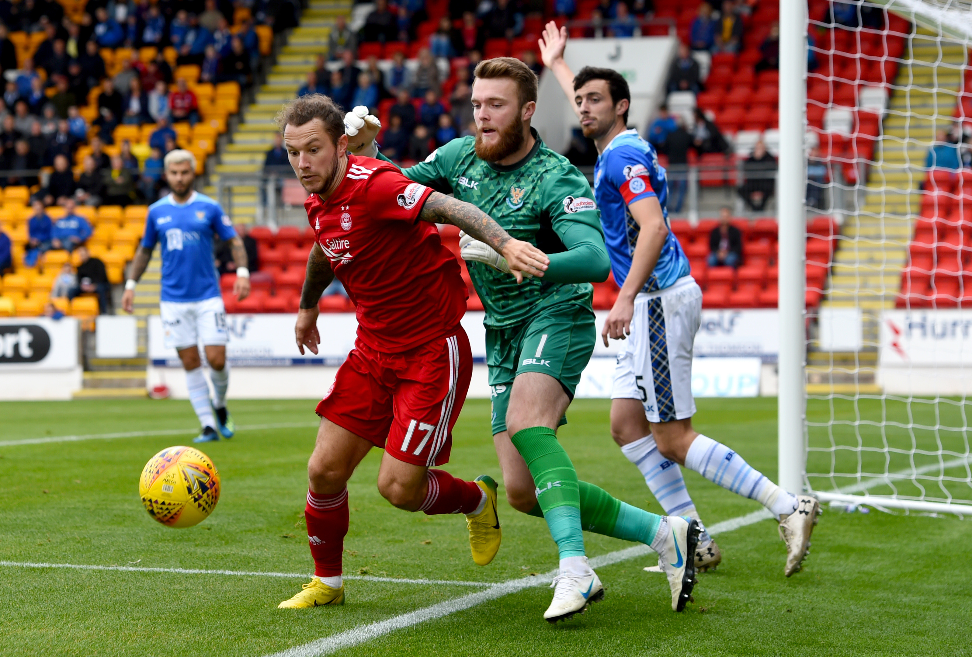 Aberdeens Stevie May in action against St Johnstone's Zander Clark.