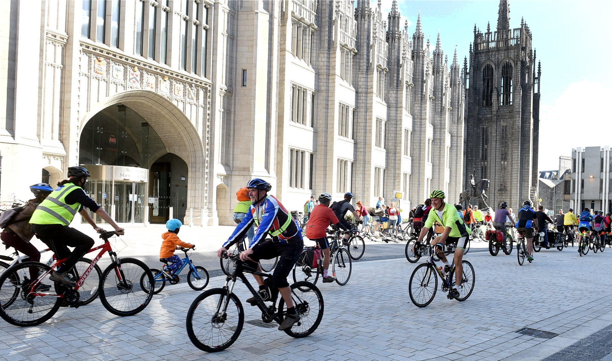 Cyclists protesting outside Mariscal College today