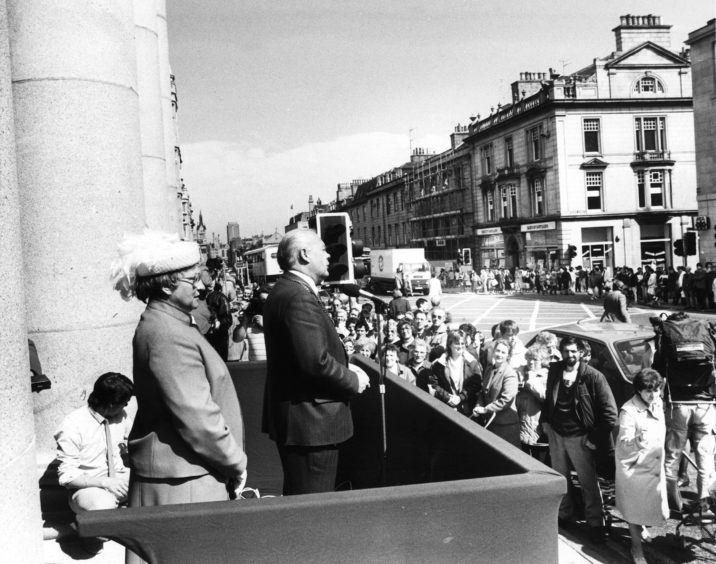 1986: Lord Provost Henry Rae speaks at the opening of the refurbished Music Hall in 1986