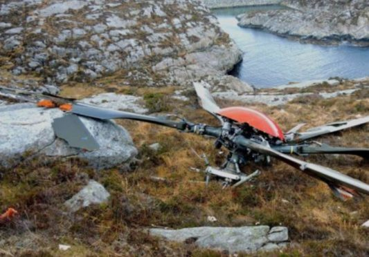 The rotor from the Super Puma which crashed near Bergen in 2016