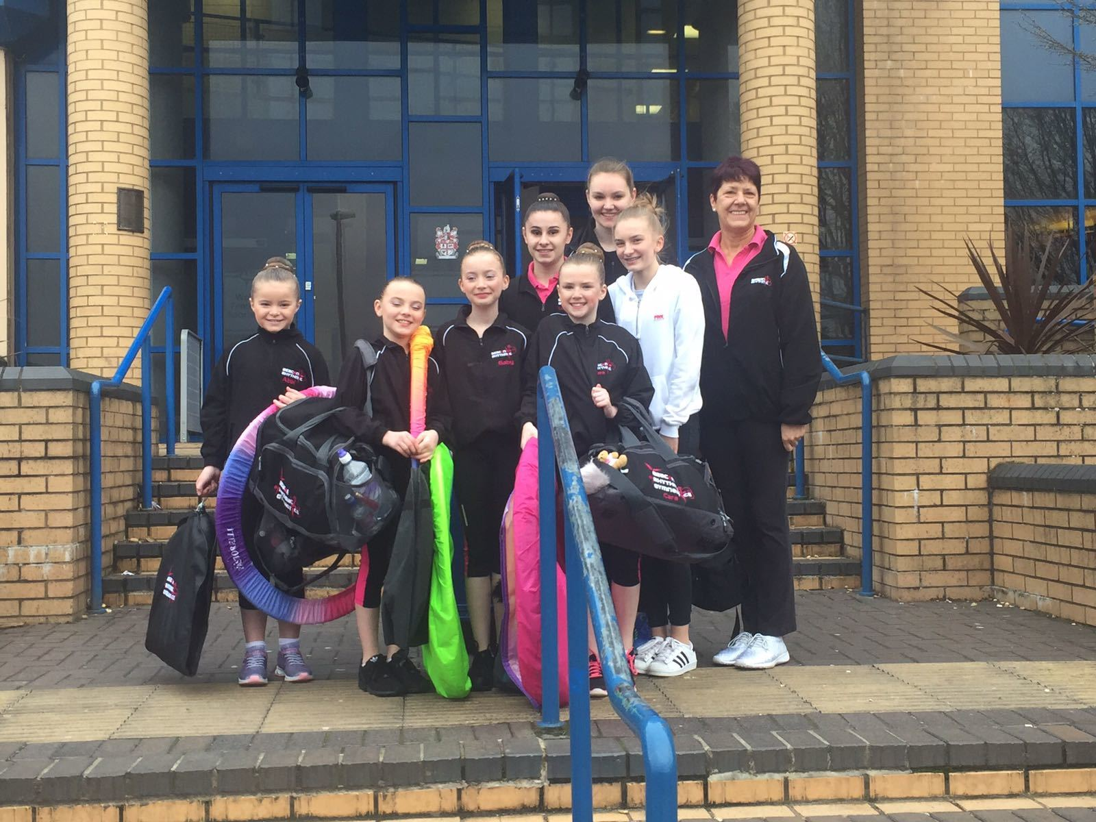 Sue with some of the girls she's coached.