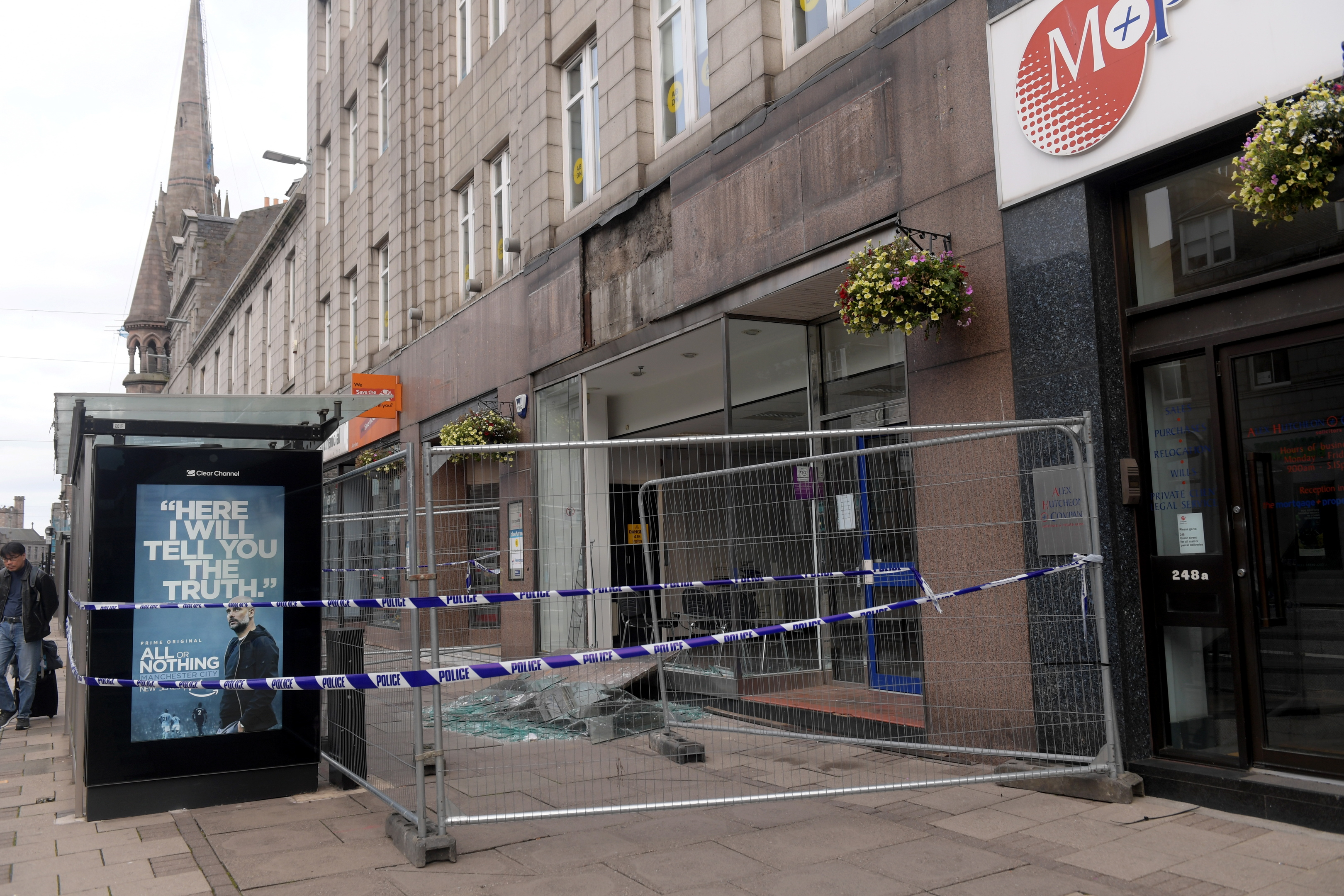 The smashed window on Aberdeen's Union Street