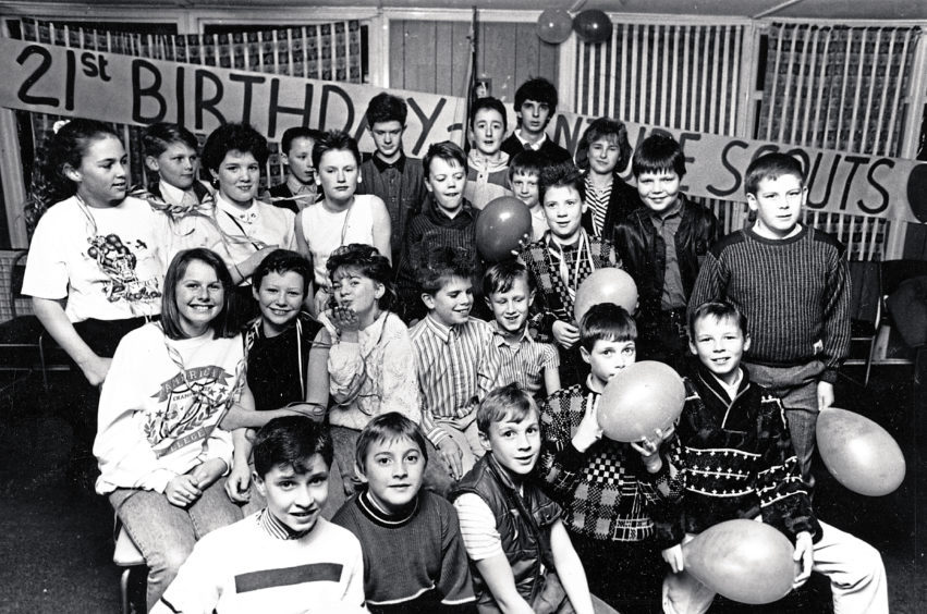 1989: Members of the 1st Portlethen Venture Scouts enjoy the 21st birthday of the Venture Scout movement with a party in the Portlethen Scout Hall