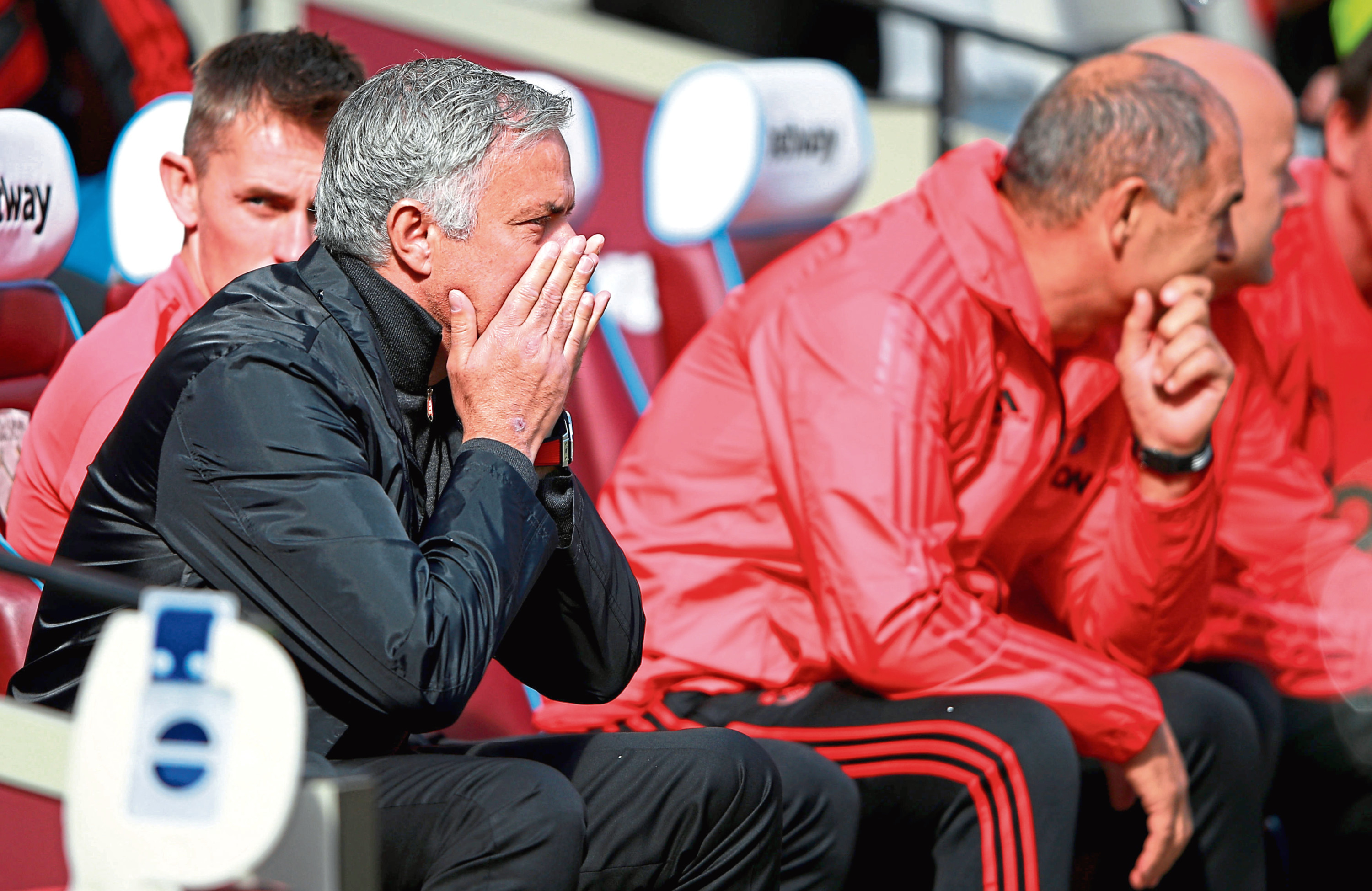 Manchester United manager Jose Mourinho during the Premier League match against West Ham at London Stadium.