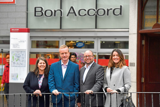 From left, Councillor Marie Boulton, Adrian Watson of Aberdeen Inspired, Craig Stevenson of Bon Accord Shopping Centre, and Nicola Johnston, Aberdeen Inspired's evening and night time economy manager