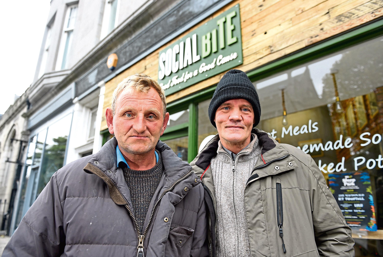 Jocky and Richard Johnstone outside Social Bite