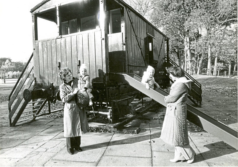 1981: Sandra Tredinnick, right, with sons Peter and Daniel and their aunt Elsie Gardner pictured having fun at the Seaton Park railway guard's van