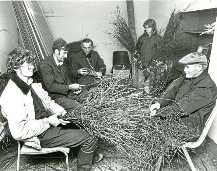 1980: Hazlehead Park gardeners making besoms for sweeping leaves are, from left, Jim Morton, Brian Anderson, Jim Flynn, Terry Thornton and Alex Duncan