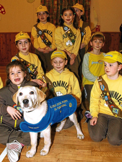 2004: The 1st Kintore Brownies met 12-week-old trainee guide dog Luke after raising money for the Guide Dogs for the Blind Association