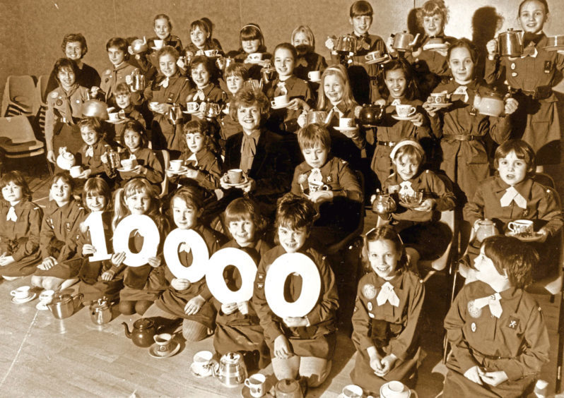 1985: The Craigiebuckler Brownie pack raised £1,000 to buy 10,000 meals for less fortunate children