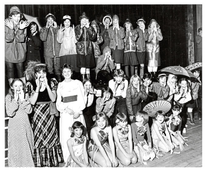 1985: Ellon Brownies and Guides in a variety of costumes for their Gang Show dress rehearsal which they were hoping would be a great success