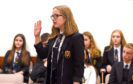 Pupils from Mackie Academy and The Gordon Schools Huntly take part in the final of the mock trials contest