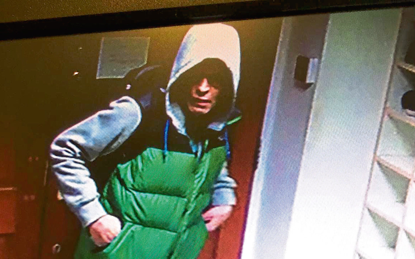 Images taken from CCTV show a man wanted in connection with a theft  at Aberdeen Mosque