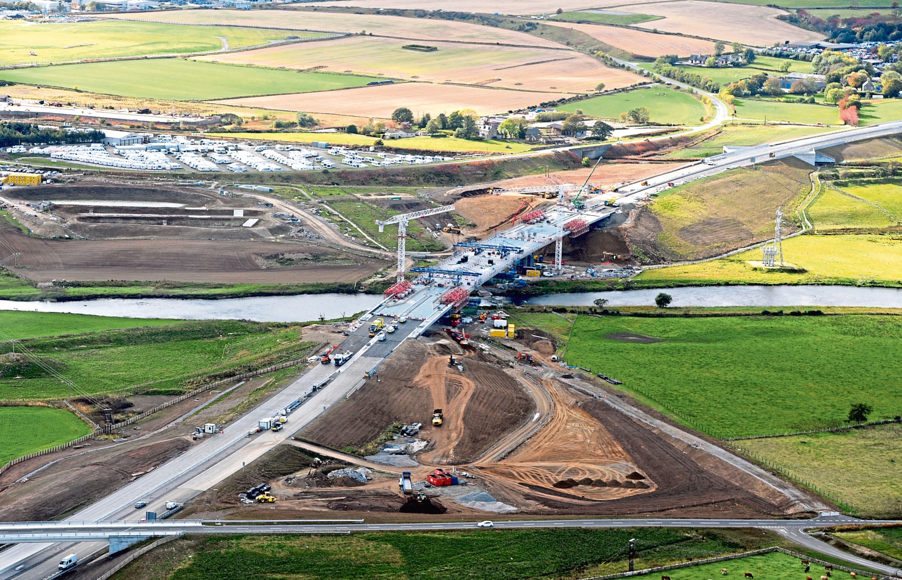 The new bridge at Dyce over the River Don, which is still under construction