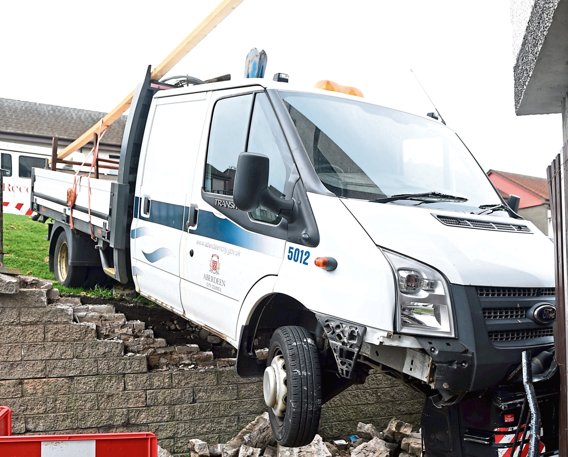 The van crashed through the wall in April
