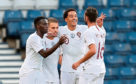 Portugal's Helder Costa, second right, celebrates scoring his side's first goal of the game during the International Friendly match at Hampden Park, Glasgow.