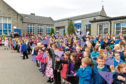 Pupils on the final day at the school