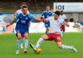 Aaron Norris, left, playing for Peterhead.