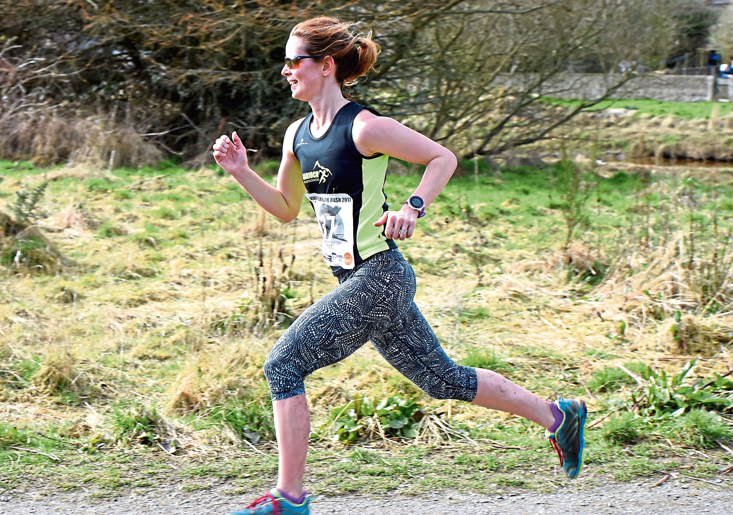 The Newbugh beach bash, 10K race. In the picture is 1st female runner, Tammy Wilson.   Picture by Jim Irvine  18-3-17
