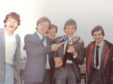 Kenny Williams  in his playing days celebrating a cup win in 1982, from left, George Donald, Gordon Grant, Jack Christie, Kenny Williams, Gordon Bathgate.