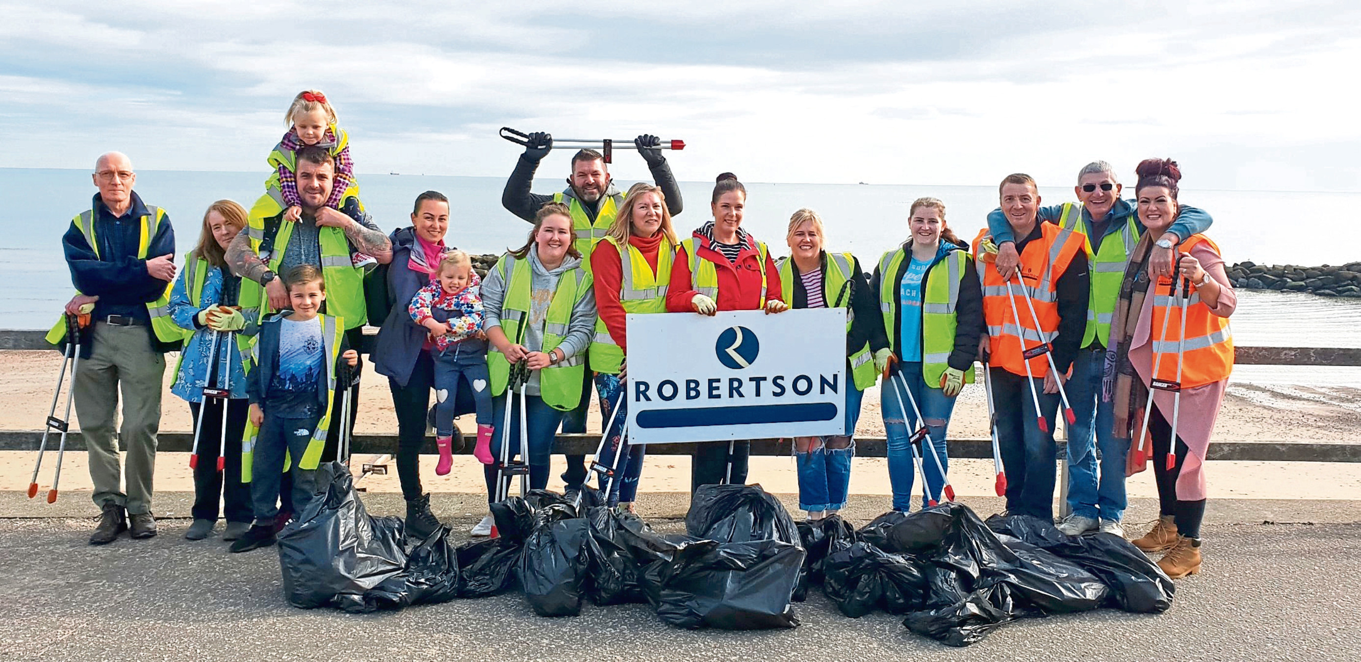 Some of the team involved in the beach clean