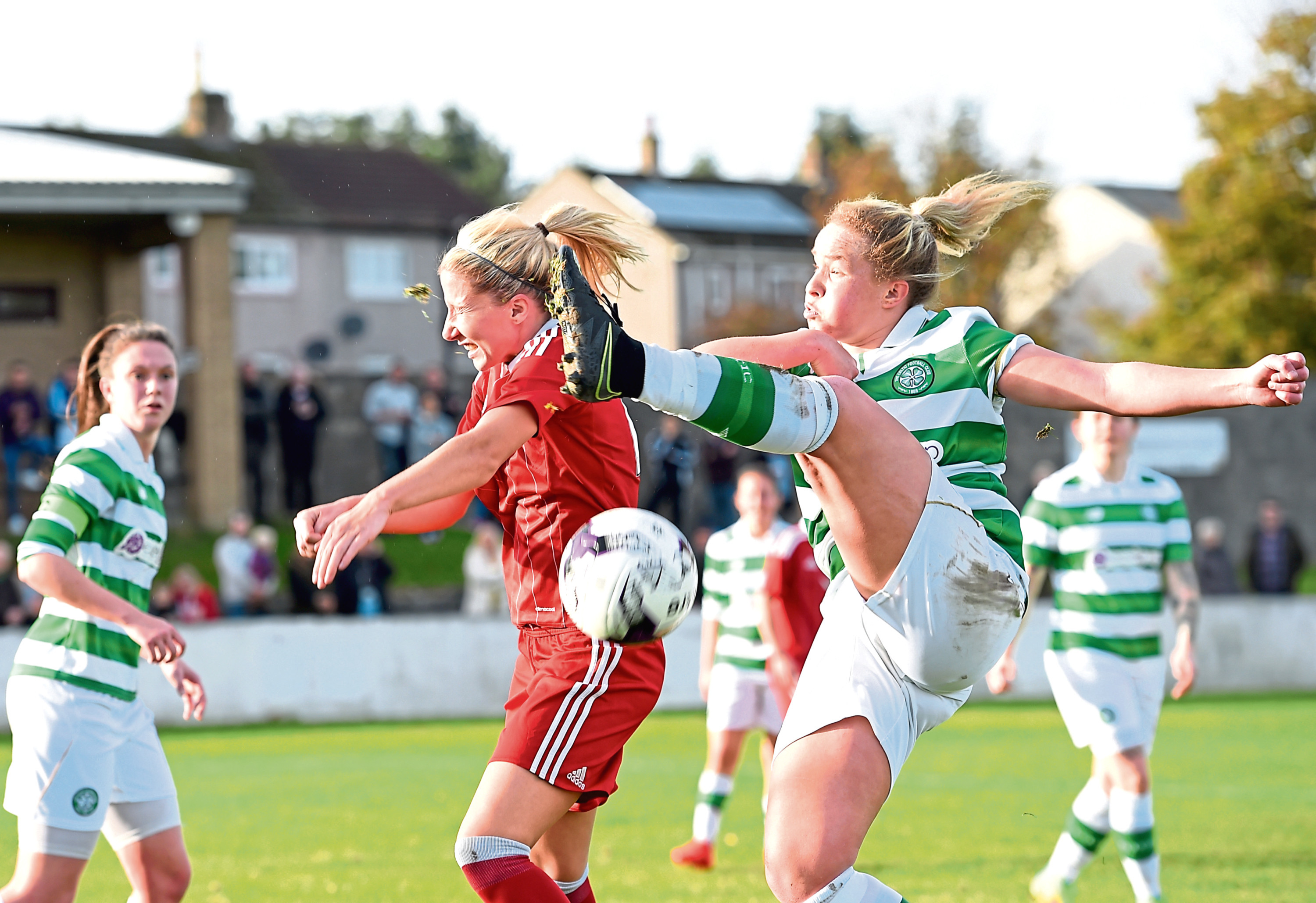 Kelly Forrest, left, in action for Aberdeen. Picture by Darrell Benns
