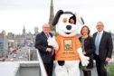 Campaign ambassador Bob Keiller, Charlie House mascot Charlie Dog, head of fundraising Susan Crighton and creator Campbell Urquhart