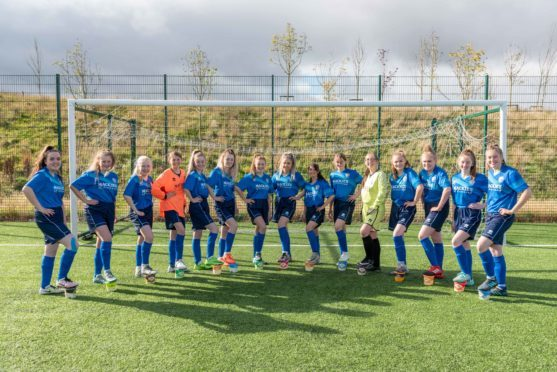 Alford Academy's women's football team with their new kits