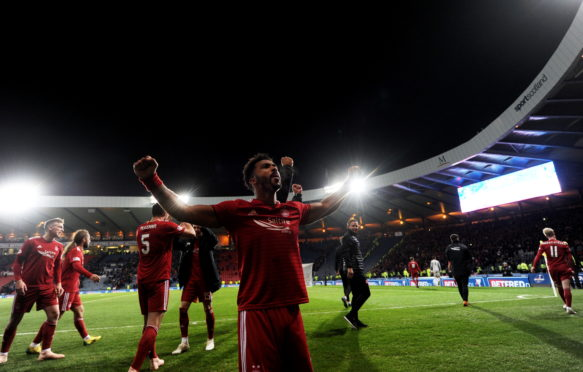 Shay Logan after the Betfred Cup semi-final win. Picture by Scott Baxter