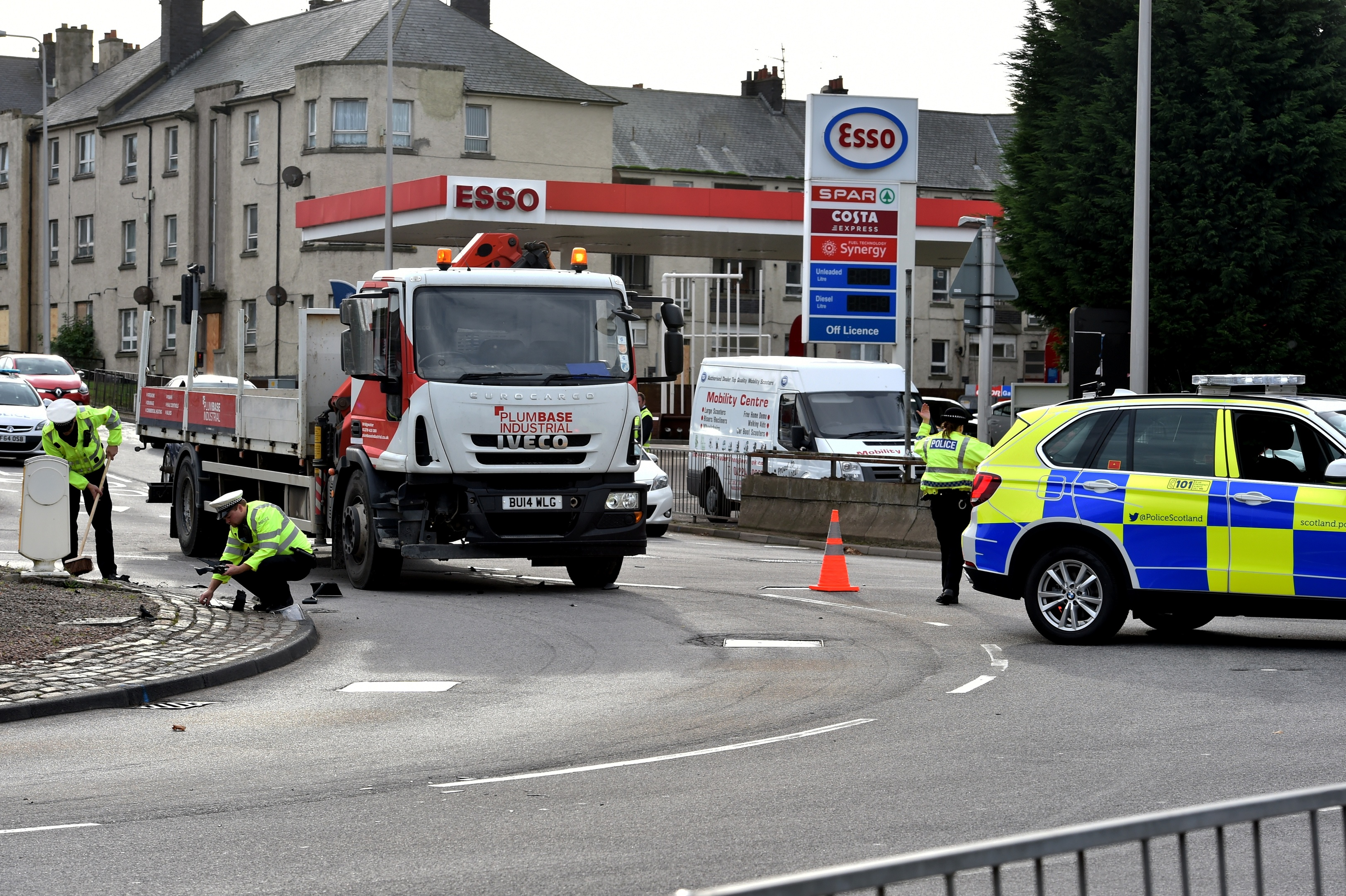 Police at the scene on the Haudagain roundabout
