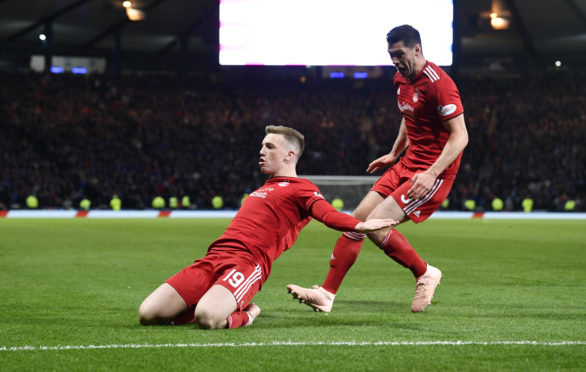 Aberdeen's Lewis Ferguson celebrates after he makes it 1-0 against Rangers.