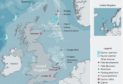 A map showing Equinor's UK interests