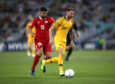 Martin Boyle of Australia competes for the ball against Samir Ayass of Lebanon during the International Friendly Match between the Australian Socceroos and Lebanon at ANZ Stadium on November 20, 2018 in Sydney, Australia.