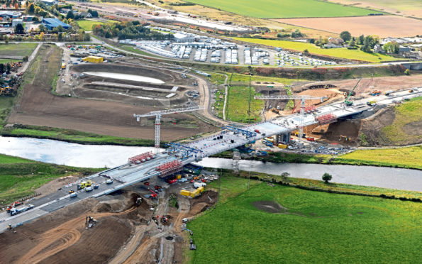 An aerial view of the new crossing over the River Don