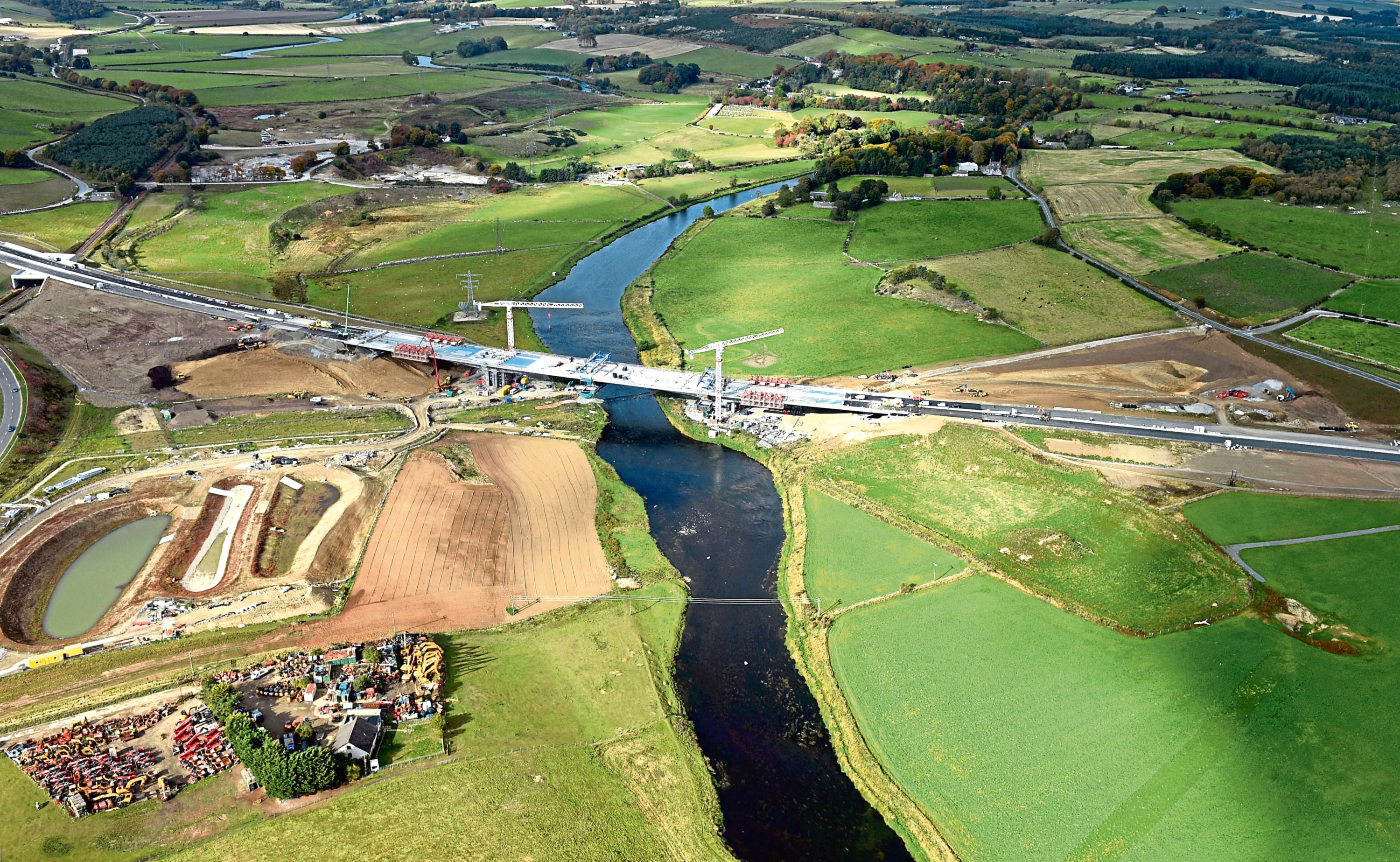 The new bridge at Dyce over the River Don