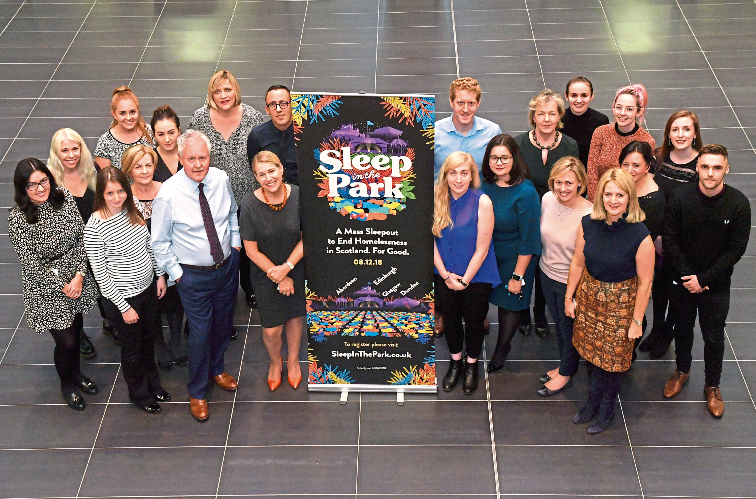 People at the Wood Group offices on Justice Mill Lane who are taking part in the Sleep in the Park event.